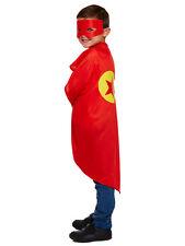 Childrens Red Cape & Mask Superhero Kit Fancy Dress Party Kids Childs Cloak Bn