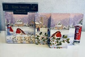 Tom Smith 12 'Special Fold' Christmas Cards 2 Designs with Glitter Detail