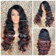 Full Wig Body Wave 2 Toned Black Red Heat Safe Ombre Long Side Part Hair Piece