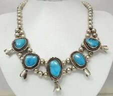 """New listing Sterling Silver Blue Turquoise Navajo Squash Blossom Necklace*22"""" Long*96.1g Vtg"""