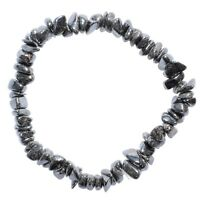 Premium CHARGED Hematite Crystal Chip Stretchy Bracelet + Baby Selenite Heart