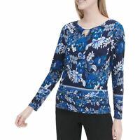 CALVIN KLEIN NEW Women's Floral-print Keyhole Hardware Blouse Shirt Top S TEDO