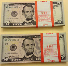 10 New Uncirculated $5 Bills from BEP Packs