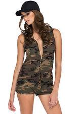 Abito tuta Aderente nudo scollo Zip Mimetica Mini Camouflage Romper Shorts M
