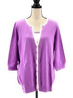 JG Hook Womens Cardigan Sweater Twinset Purple White Plus Size 2X 3/4 Sleeves