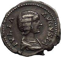 JULIA DOMNA 209AD Ancient Silver Roman Coin JUNO wife of Jupiter Rare  i52286
