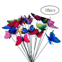 Simulation Butterfly on Stick 10Pcs Colorful Garden Patio Decor Butterfly Stake