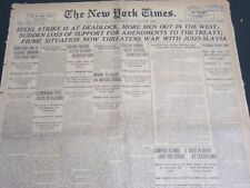 1919 SEPTEMBER 25 NEW YORK TIMES - STEEL STRIKE IS AT A DEADLOCK - NT 7032
