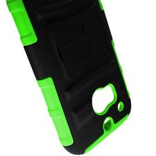 For HTC One (M8) Stand Neon Green Black Hard Soft Case + Belt Clip Holster Cover