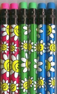 Flower Power on colorful pencils. Set of 6!