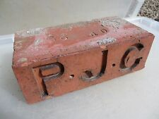 Victorian Brick Architectural Antique Vintage Terracotta Old Block Initial P.J.C