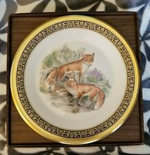 1980 Lenox Boehm Woodland Wildlife Red Foxes Plate Mint in Box with Certificate