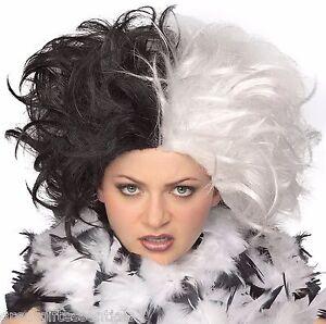 Cruella de Vil Costume WIG Black White Ms Spot Hair 101 Adult Deville Dalmations