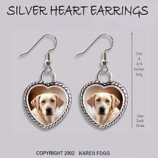 Labrador Retriever Dog Yellow Light - Heart Earrings Ornate Tibetan Silver