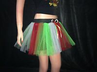 neon uv white Red Green 3 tone tutu bow skirt stripe dance fancy costume party