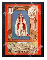 Historic King James I & Guy Fawkes - King Insurance Co 1905 Advertising Postcard