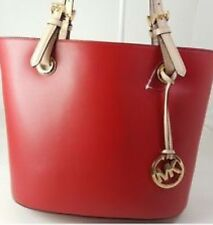 NWT Authentic Michael Kors MK Medium Tote Leather Red Handbag Shoulder Bag $ 248