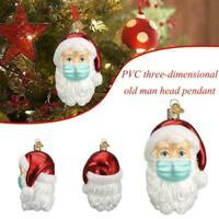 2020 Santa Christmas Tree Ornaments Wearing Mask Santa Claus Hanging Decoration