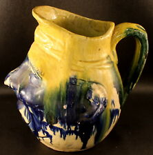 Antique Majolica Toby / Face Jug Pitcher Lightweight Pottery Blue & Yellow