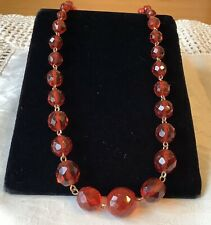 Necklace & Rolled Gold Findings c1930's Vintage Art Deco Red Faceted Glass