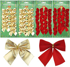 48 Pieces Bow Decorations 50 mm Ribbon Bows Ornaments for New Year, Red and Gold