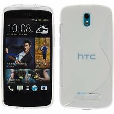 HTC Desire 500 Clear S Pattern Rubber Silicone Gel Soft Slim Fitted Case Cover