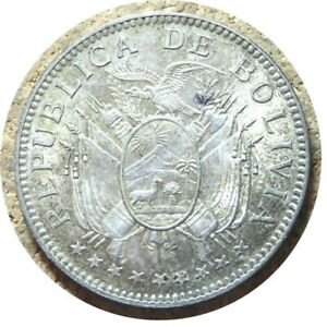 elf Bolivia 50 Centavos 1909 H  Silver