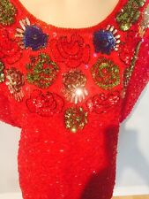 Beaded Red Sequins Disco Shirt Top Swee lo Sweelo Size Xl 12 14 Prop Vintage 80s