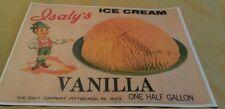 1960s Isaly's Vanilla Ice Cream Half Gallon Carton Pittsburgh Pa. Ad Poster Repo