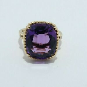 Tiffany & Co 18K Yellow Gold Amethyst sparkler ring w/ diamond accent size 5