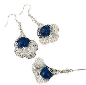 "Hat Pin & Earrings Set lapis lazuli antique silver 5"" long Ladies Hats Wedding"