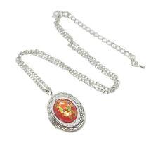 Collana portafoto piccola cabochon cammeo 18x13mm rosa rossa tensha giapponese