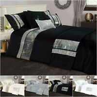 Diamante Band Starlight Duvet Cover Silver Sparkle Bedding Set Double King Sizes