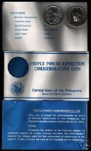PHILIPPINES 10 PISO KM-250 1988 People Power Rev COMMEMORATIVE UNC COIN + FOLDER