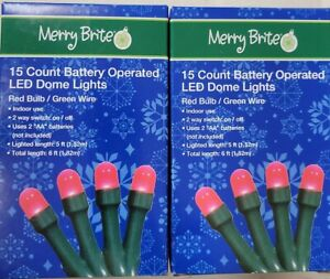 Merry Brite 2 sets 15 count RED Bulb Battery operated LED lights Green String