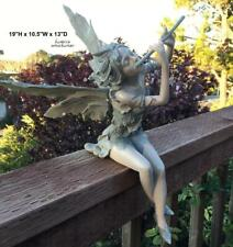 Fairy Sitting Statue Garden Fantasy Girl Sculpture Leafy Wings Home Patio Decor