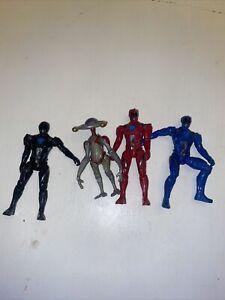 Saban's Power Rangers Movie Lot Of 4 Blue Red Black Rangers Alpha Loose Figures