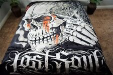 ☀NEW 5 POUNDS SOFT QUEEN KOREAN MINK Blanket Skull Skeleton Blood Tattoo Ink