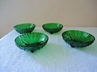 """Vintage Set of 4 Green Glass Candy / Nut Bowls """" BEAUTIFUL COLLECTIBLE SET """""""