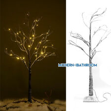 48LED Light Up Fairy Snowy Twig Tree Lights Warm White Xmas Garden Mains Plug In
