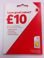 VODAFONE UK PAY AS YOU GO SIM CARD VODAPHONE VODA NETWORK Standard Micro & Nano