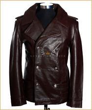German Naval Brown Men's New Military WW2 Real Cowhide Leather Jacket Pea Coat