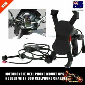 Portable Motorcycle BikeMount Cellphone Holder USB Charger For iPhone Samsung