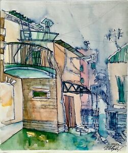 ORIGINAL watercolor painting paper artwork SIGNED by artist