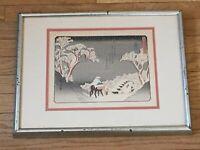 Hiroshige Japanese Art Print Winter Scene Fujikawa 53 Stations of Tokaido