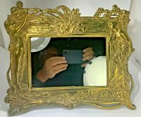 Antique Art Nouveau Large Frame Cast Iron Brass Ornate High Relief Ladies/Flower