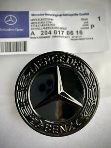 MERCEDES BENZ SPORT GLOSS BLACK BONNET BADGE - 57MM NEW - C E S CLK AMG CLASS Uk