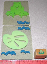 Frog Stamps Lilly Pad Water Frog Plus Wood Stamp of a Frog sitting on Lilly Pad