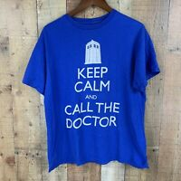 "Doctor Who Mens Graphic Tee Sz M Blue White ""Keep Calm"""