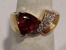Triangular Pink Tourmaline and Diamond Ring set in 14K Yellow Gold, Size 5.5
